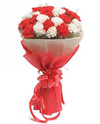 21 adet kırmızı beyaz karanfil buketi  Kocaeli internetten çiçek siparişi