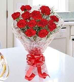 12 adet kırmızı karanfil buketi  hediye çiçek yolla