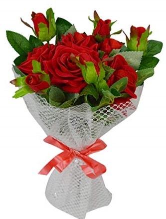 9 adet kırmızı gülden sade şık buket  Kocaeli çiçekçiler