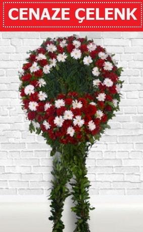 Kırmızı Beyaz Çelenk Cenaze çiçeği  hediye çiçek yolla