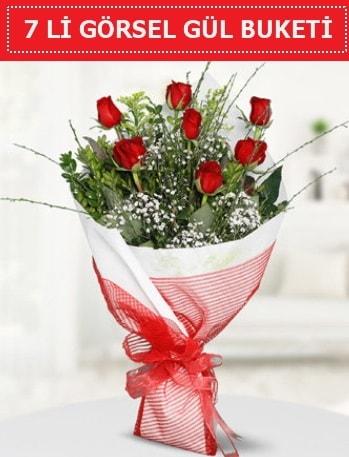 7 adet kırmızı gül buketi Aşk budur  Kocaeli internetten çiçek siparişi