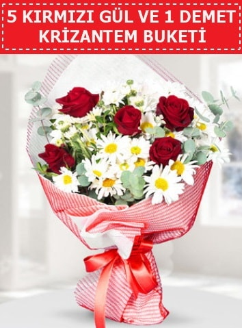 5 adet kırmızı gül ve krizantem buketi  Kocaeli internetten çiçek siparişi