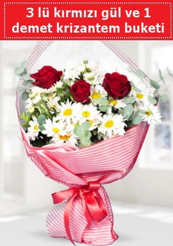 3 adet kırmızı gül ve krizantem buketi  Kocaeli çiçekçi mağazası