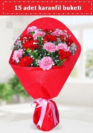 15 adet karanfilden hazırlanmış buket  kaliteli taze ve ucuz çiçekler